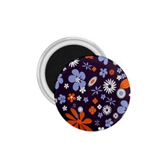 Bright Colorful Busy Large Retro Floral Flowers Pattern Wallpaper Background 1.75  Magnets