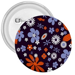 Bright Colorful Busy Large Retro Floral Flowers Pattern Wallpaper Background 3  Buttons