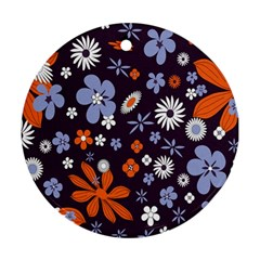 Bright Colorful Busy Large Retro Floral Flowers Pattern Wallpaper Background Ornament (round)
