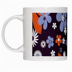 Bright Colorful Busy Large Retro Floral Flowers Pattern Wallpaper Background White Mugs