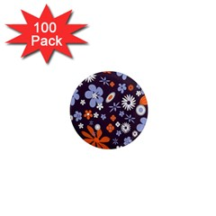 Bright Colorful Busy Large Retro Floral Flowers Pattern Wallpaper Background 1  Mini Magnets (100 Pack)