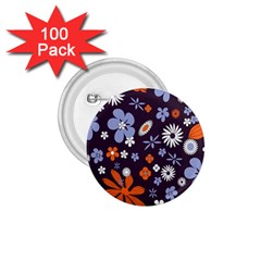 Bright Colorful Busy Large Retro Floral Flowers Pattern Wallpaper Background 1 75  Buttons (100 Pack)