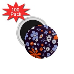 Bright Colorful Busy Large Retro Floral Flowers Pattern Wallpaper Background 1 75  Magnets (100 Pack)
