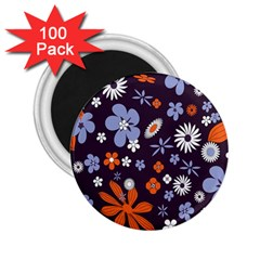 Bright Colorful Busy Large Retro Floral Flowers Pattern Wallpaper Background 2 25  Magnets (100 Pack)