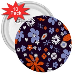 Bright Colorful Busy Large Retro Floral Flowers Pattern Wallpaper Background 3  Buttons (10 pack)