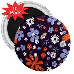Bright Colorful Busy Large Retro Floral Flowers Pattern Wallpaper Background 3  Magnets (10 pack)