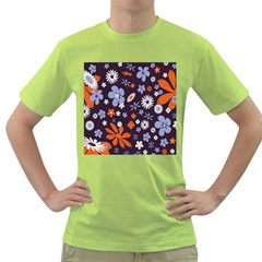 Bright Colorful Busy Large Retro Floral Flowers Pattern Wallpaper Background Green T-Shirt