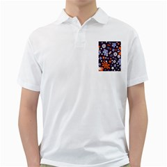 Bright Colorful Busy Large Retro Floral Flowers Pattern Wallpaper Background Golf Shirts
