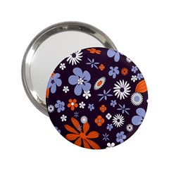 Bright Colorful Busy Large Retro Floral Flowers Pattern Wallpaper Background 2.25  Handbag Mirrors