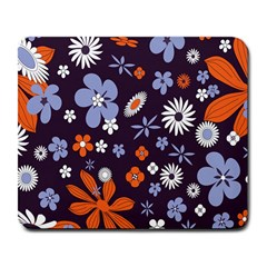 Bright Colorful Busy Large Retro Floral Flowers Pattern Wallpaper Background Large Mousepads