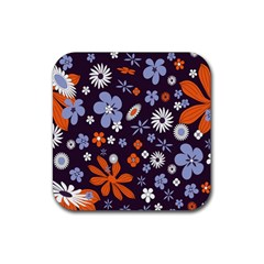 Bright Colorful Busy Large Retro Floral Flowers Pattern Wallpaper Background Rubber Square Coaster (4 pack)