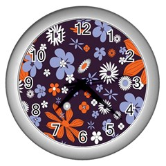 Bright Colorful Busy Large Retro Floral Flowers Pattern Wallpaper Background Wall Clocks (Silver)