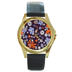 Bright Colorful Busy Large Retro Floral Flowers Pattern Wallpaper Background Round Gold Metal Watch