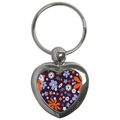 Bright Colorful Busy Large Retro Floral Flowers Pattern Wallpaper Background Key Chains (heart)