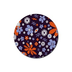 Bright Colorful Busy Large Retro Floral Flowers Pattern Wallpaper Background Rubber Coaster (round)