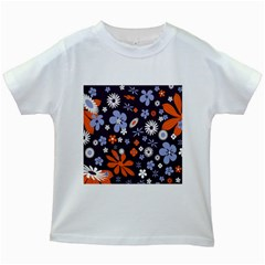 Bright Colorful Busy Large Retro Floral Flowers Pattern Wallpaper Background Kids White T Shirts