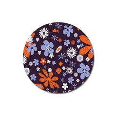 Bright Colorful Busy Large Retro Floral Flowers Pattern Wallpaper Background Magnet 3  (Round)