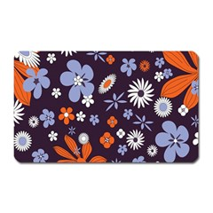 Bright Colorful Busy Large Retro Floral Flowers Pattern Wallpaper Background Magnet (Rectangular)