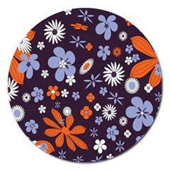 Bright Colorful Busy Large Retro Floral Flowers Pattern Wallpaper Background Magnet 5  (round)