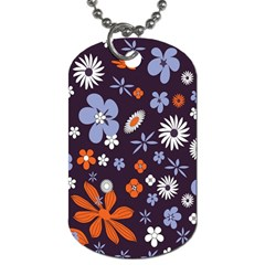 Bright Colorful Busy Large Retro Floral Flowers Pattern Wallpaper Background Dog Tag (One Side)