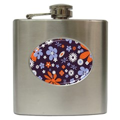 Bright Colorful Busy Large Retro Floral Flowers Pattern Wallpaper Background Hip Flask (6 oz)