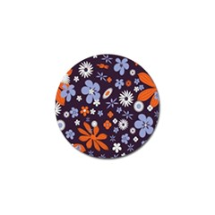 Bright Colorful Busy Large Retro Floral Flowers Pattern Wallpaper Background Golf Ball Marker (4 pack)