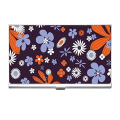 Bright Colorful Busy Large Retro Floral Flowers Pattern Wallpaper Background Business Card Holders