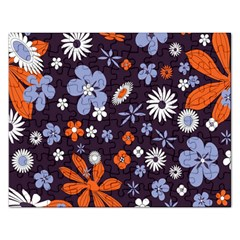 Bright Colorful Busy Large Retro Floral Flowers Pattern Wallpaper Background Rectangular Jigsaw Puzzl