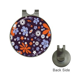 Bright Colorful Busy Large Retro Floral Flowers Pattern Wallpaper Background Hat Clips With Golf Markers