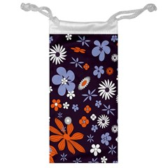 Bright Colorful Busy Large Retro Floral Flowers Pattern Wallpaper Background Jewelry Bag
