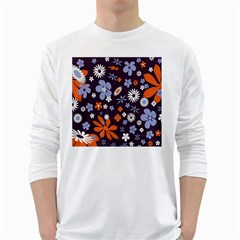Bright Colorful Busy Large Retro Floral Flowers Pattern Wallpaper Background White Long Sleeve T-Shirts