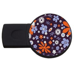 Bright Colorful Busy Large Retro Floral Flowers Pattern Wallpaper Background USB Flash Drive Round (4 GB)