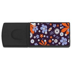Bright Colorful Busy Large Retro Floral Flowers Pattern Wallpaper Background USB Flash Drive Rectangular (4 GB)