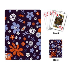 Bright Colorful Busy Large Retro Floral Flowers Pattern Wallpaper Background Playing Card