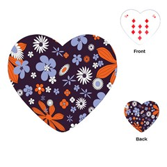 Bright Colorful Busy Large Retro Floral Flowers Pattern Wallpaper Background Playing Cards (Heart)