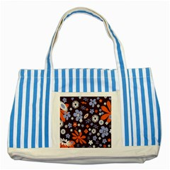 Bright Colorful Busy Large Retro Floral Flowers Pattern Wallpaper Background Striped Blue Tote Bag