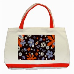Bright Colorful Busy Large Retro Floral Flowers Pattern Wallpaper Background Classic Tote Bag (red)