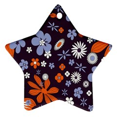 Bright Colorful Busy Large Retro Floral Flowers Pattern Wallpaper Background Star Ornament (Two Sides)