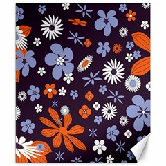 Bright Colorful Busy Large Retro Floral Flowers Pattern Wallpaper Background Canvas 8  x 10