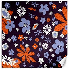 Bright Colorful Busy Large Retro Floral Flowers Pattern Wallpaper Background Canvas 16  X 16