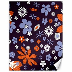 Bright Colorful Busy Large Retro Floral Flowers Pattern Wallpaper Background Canvas 18  x 24