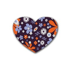 Bright Colorful Busy Large Retro Floral Flowers Pattern Wallpaper Background Heart Coaster (4 pack)