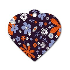 Bright Colorful Busy Large Retro Floral Flowers Pattern Wallpaper Background Dog Tag Heart (One Side)