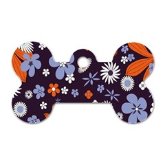 Bright Colorful Busy Large Retro Floral Flowers Pattern Wallpaper Background Dog Tag Bone (One Side)