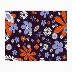 Bright Colorful Busy Large Retro Floral Flowers Pattern Wallpaper Background Small Glasses Cloth (2 Side)