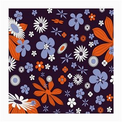 Bright Colorful Busy Large Retro Floral Flowers Pattern Wallpaper Background Medium Glasses Cloth