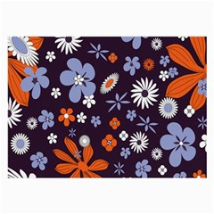 Bright Colorful Busy Large Retro Floral Flowers Pattern Wallpaper Background Large Glasses Cloth (2-Side)