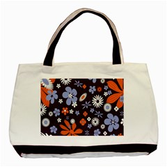 Bright Colorful Busy Large Retro Floral Flowers Pattern Wallpaper Background Basic Tote Bag (two Sides)