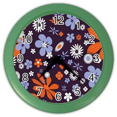 Bright Colorful Busy Large Retro Floral Flowers Pattern Wallpaper Background Color Wall Clocks