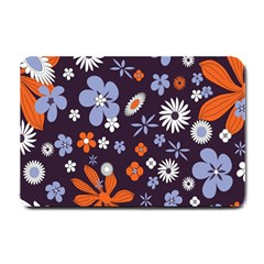 Bright Colorful Busy Large Retro Floral Flowers Pattern Wallpaper Background Small Doormat